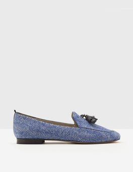 Greek Blue/Ivory Herringbone Ines Loafers