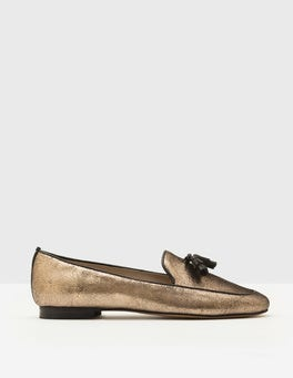 Antique Gold Crackle Metallic Ines Loafers