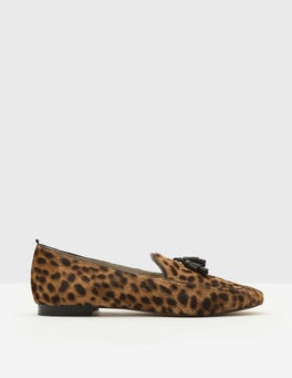 Tan Leopard Ines Tassel Loafer