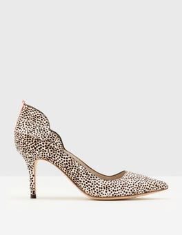 White Mini Spot Carrie Mid Heel Pumps
