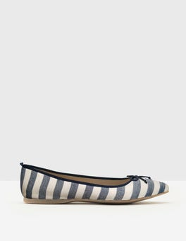 Navy Stripe Poppy Pointed Flats