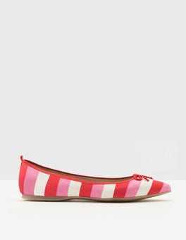 Plum Blossom and Red Stripe Poppy Pointed Flats