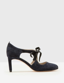 Navy Cut Out Round Toe Heel