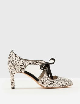 White Mini Spot Rebecca Mid Heel Pumps
