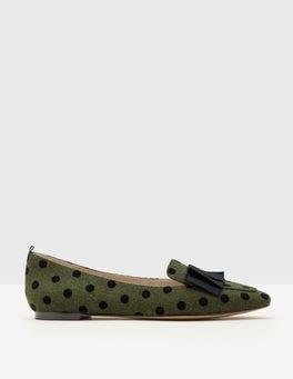 Fell Green with Navy Spot Geraldine Flats