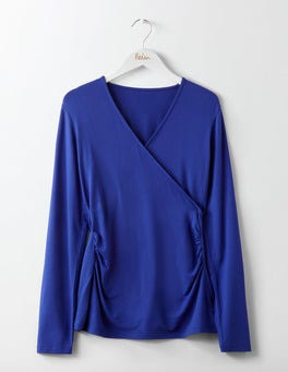 Greek Blue Long Sleeve Wrap Top