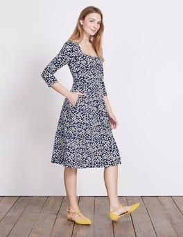 Navy Blossom Spot Julianna Ponte Dress