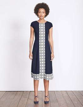 Navy Tile Heart Stripe Frederica Ponte Dress