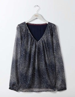 Navy Starlight Spot Aubrey Jersey Top