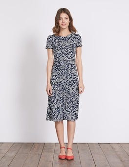 Navy Blossom Spot Portia Jersey Dress