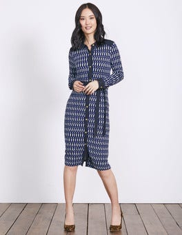 Greek Blue Crescent Geo Samara Jersey Dress