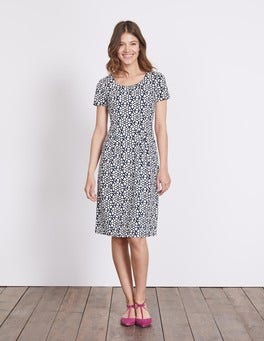 Navy Tile Heart Emmeline Jersey Dress