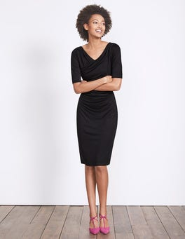 Black Rita Ruched Jersey Dress