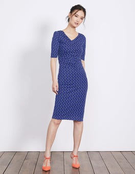 Greek Blue Scoop Spot Rita Ruched Jersey Dress