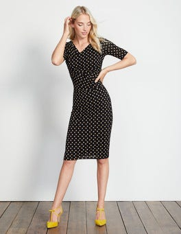 Black Scoop Spot Rita Ruched Jersey Dress