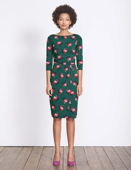 Deep Forest Small Bloom Lottie Ruched Jersey Dress