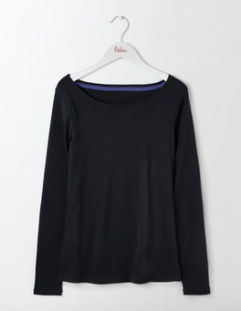 Black Essential Boatneck