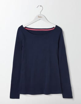 Navy Essential Boatneck Tee