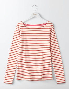 Ivory/Post Box Red Essential Boatneck