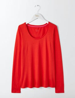Post Box Red Supersoft Scoop Neck Top