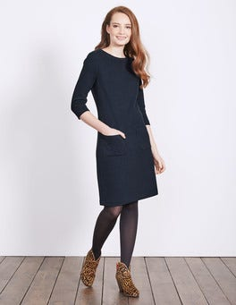Navy Marisole Jacquard Dress