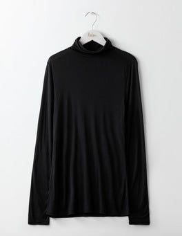 Black Luxe Mock Neck Top