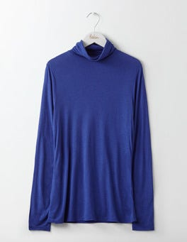 Greek Blue Luxe Mock Neck Top