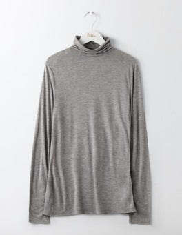 Grey Melange Luxe Polo Neck