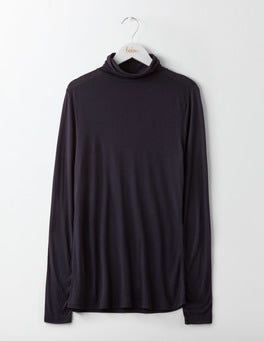 Navy Luxe Mock Neck Top