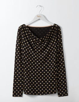 Black Scoop Spot Kitty Cowl Neck Top