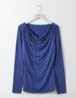 Greek Blue Scoop Spot Kitty Cowl Neck Top