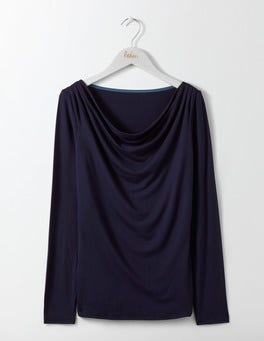 Navy Kitty Cowl Neck Top