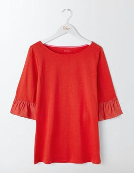 Post Box Red Rae Ruffle Sleeve Tee