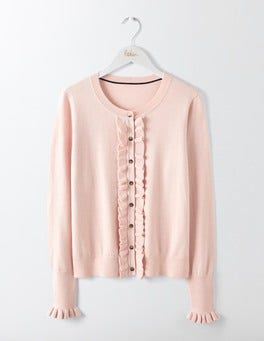 Chalky Rose Frill Front Cardigan