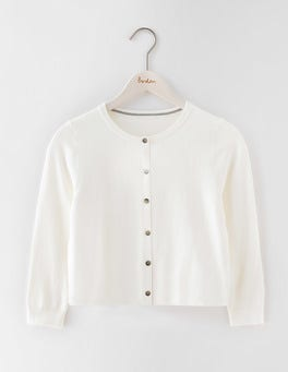 Ivory Favourite Crew Neck Cropped Cardigan