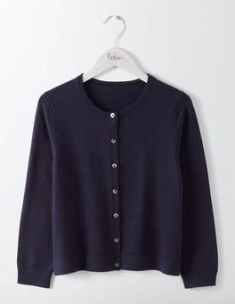 Navy Favourite Crew Neck Cropped Cardigan