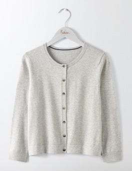 Silver Melange Favourite Crew Neck Cropped Cardigan