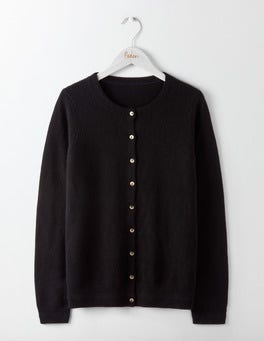 Black Cashmere Crew Neck  Cardigan