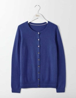 Greek Blue Cashmere Crew Cardigan