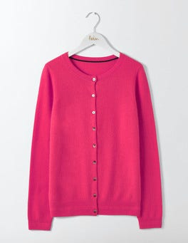 Party Pink Cashmere Crew Neck  Cardigan