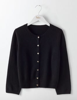 Black Cashmere Crew Neck Cropped Cardigan