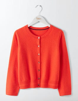 Melon Crush Cashmere Crew Neck Cropped Cardigan