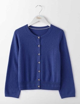 Greek Blue Cashmere Crop Crew Cardigan