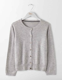 Grey Melange Cashmere Crew Neck Cropped Cardigan