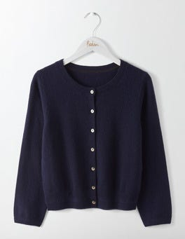 Navy Cashmere Crew Neck Cropped Cardigan