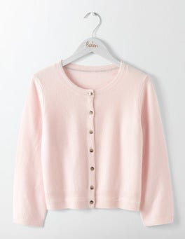 Chalky Rose Cashmere Crew Neck Cropped Cardigan