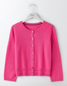Party Pink Cashmere Crew Neck Cropped Cardigan