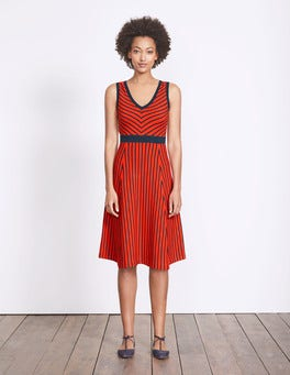 Post Box Red/Navy Stripe Eliza Knitted Dress