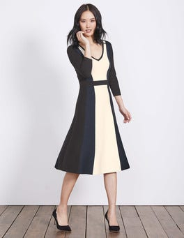 Ivory/Navy/Black Darcey Knitted Dress