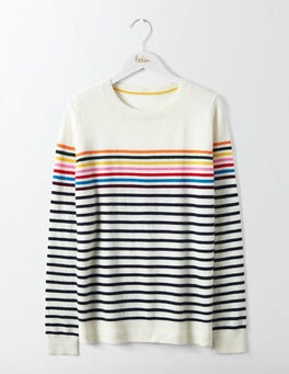 Ivory/Navy Multi Stripe Cashmere Crew Neck Jumper
